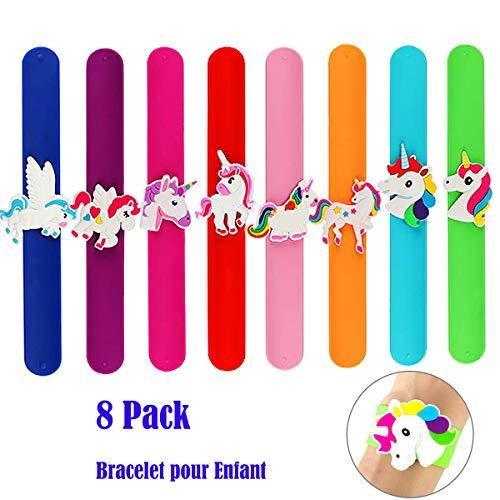 AINOLAN Bracelet pour Enfant - 8pcs Bracelet Licorne pour Enfants Slap Bracelets Cadeau pour Les invités à la fête d'anniversaire