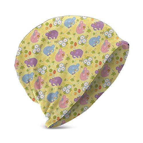 Mütze Strickmütze für Jungen Mädchen, blühende Cartoon Blumen und Tier Maskottchen Luftballons Fliegen Krawatten Verspielte Clipart, weiche warme Wintermütze