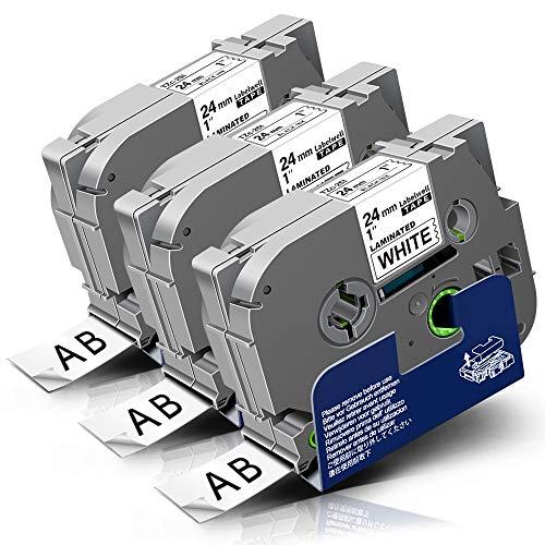3x Labelwell 24mm Tzc-251 Nero su Bianco Tape Compatibile per Brother Tz Tze-251 Tze251 Nastro con Brother P-Touch CUBE PLUS PT-P710BT PT-P750WVP PT-P750W PT-H500LI PT-9200DX PT-7600 Etichettatrice