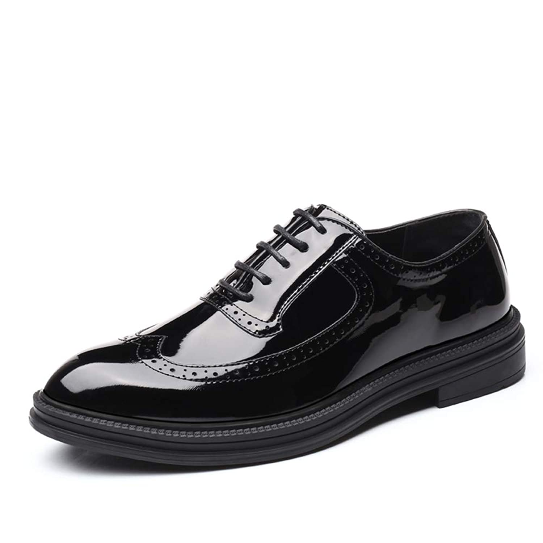 [CHENJUAN] 靴メンズファッションオックスフォードカジュアルクラシック彫刻された快適なレースアップパテントレザーブローグシューズ