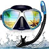 EXP VISION - シュノーケルセット ダイビングマスク スノーケルマスク - シュノーケリング 2眼マスク 強化ガラス スノーケル 呼吸管 超広角設計 潜水メガネ シリコン製 男女兼用マスク スイミングゴーグル フリーダイビング シュノーケリング ダイビング 水泳