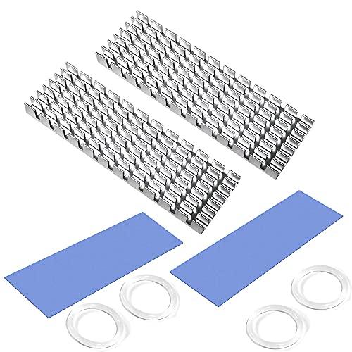CTRICALVER Disipador Aluminio, Disipador de Calor SSD M.2, con Papel de Aluminio M.2 2280 SSD 70 mm × 22 mm × 6 mm (2 Piezas, Plata)