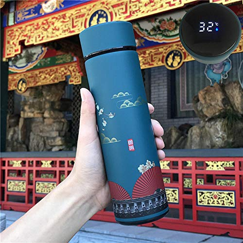 Jusemao 500ml Tazza di Acqua Creativa Stile Cinese Bottiglia di Acqua Intelligente Visualizzazione Temperatura In Acciaio Inox Vuoto Cup-Ciano Città Wall_500ml