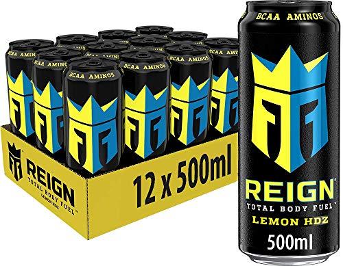 REIGN Lemon HDZ, 12x500 ml, Einweg-Dose, Performance Energy Drink mit BCAA, L-Arginin, B-Vitaminen und natürlichem Koffein