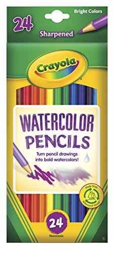 Crayola Non-Toxic Watercolor Colored Pencil Set, 3.3 mm Thick Tip, Assorted Color, Set of 24