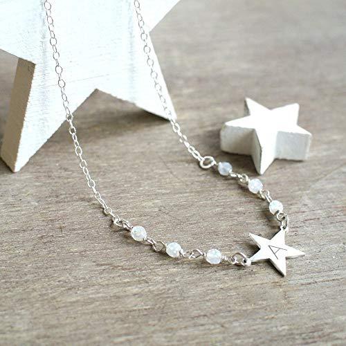 Personalisierte kleine Sterling Silber Stern Halskette, Halskette mit Mondsteine, Stern Halskette, Mondstein Halskette, Weihnachtsgeschenk, geburtstaggeschenk, Himmlische Schmuck