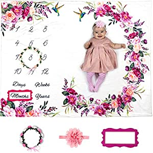 Baby Monthly Milestone Blanket Girl – Floral Large Plush Fleece Growth Chart Blanket Memory Photography Backdrop for Newborns – New Moms Set – No Wrinkle – Floral Wreath + Headband