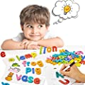 pereberi Matching Letter Puzzles Games See and Spell Learning Toys Learn to Write( Wipe Clean) Sight Words Montessori Preschool Educational for Kids Age 3+( 52 Wooden Alphabet Blocks +52 Flash Cards)