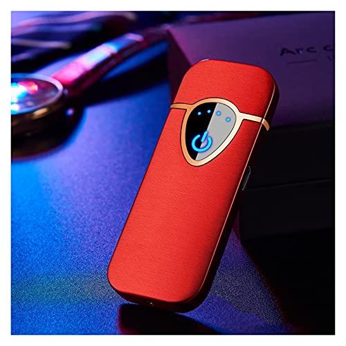 ACGGMR Wasserdichtes elektrisches Feuerzeug Touch Induktion Feuerzeug Ladung USB Zweiseitige Punkt Rauchmelder Feuerzeug Winddicht Goldclipper (Farbe : Red)