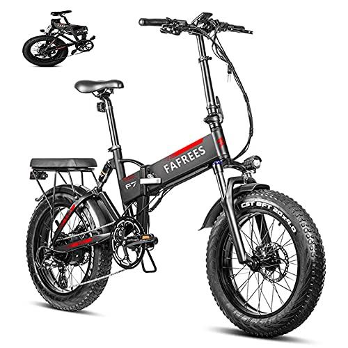 Bicicletta Mountain Elettrica da 20 Pollici 750W,Bicicletta Elettrica Pieghevole con Batteria Panasonic 48V13.6AH,Mountain Bike per Adulti Fat Tire Velocità Massima 45 km/h
