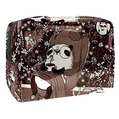 Schminktasche Portable Travel,Pandas im Sessel Braun ,Kosmetiktasche für Frauen,Beauty Zipper Makeup Organizer Bag