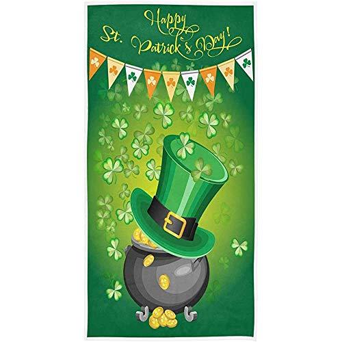 Not Applicable Toallas De Ducha,Toallas De Baño,Elegante St. Patrick's Day Hat of Leprechaun Pot of Gold Shamrock Toalla De Ducha Toalla De Playa Multiuso para Baño,Hotel,Gimnasio Y SPA,80X130CM
