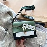 Mdsfe Bolsos de Hombro para Mujer Bolsos de Mensajero Cuero de PU Bolsos Cruzados con Hebilla de Metal Monedero 2020 Bolsos de Viaje Femeninos - Verde, 14cm X 19cm X 5cm