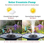 UTOPB Upgraded Solar Fountain Pump, 1.5W Free Standing Floating Solar Powered Fountain Pump Kit Submersible Outdoor, for Bird Bath, Small Pond, Swimming Pool, Garden 7