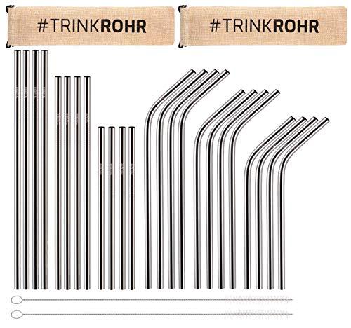TRINK ROHR Premium Edelstahl-Strohhalme 24er Set, Metall Trinkhalme, 2 Reinigungsbürsten, Wiederverwendbar Plastikfrei Verpackt, Ideal für Smoothie, Cocktail