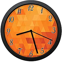 YiiHaanBuy Burnt Orange Modern Decor Wall Clock-10inch Triangle Mosaic Shaded Shapes and s Abstract Digital Pixel ,No-Ticking, Single Battery Operation, Energy Saving and Environmental Protection