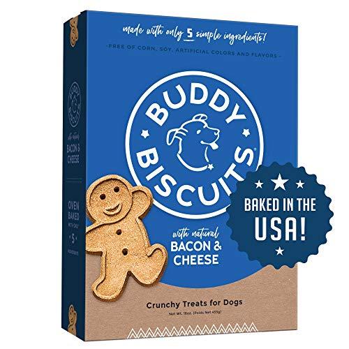 Buddy Biscuits Horno horneado, saludable grano entero, crujiente golosinas para perros, 16oz