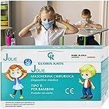 50 Mascherine Bambini Certificate CE Sigillate in 5 Pacchetti da 10 (Azzurro)