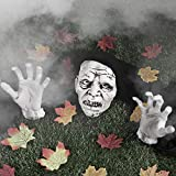 Skylety Halloween Decorations Zombie Face and Arms Lawn Stakes Graveyard with 24 Pieces Maple Leaves for Halloween Scary Indoor and Outdoor Decorations