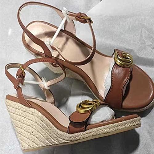 Femmes Plateforme Haute Compensée Espadrille Sandale De Luxe Designer en Cuir Talon Haut Chaussures D'été Cordon Semelle Peep Toe Pantoufle