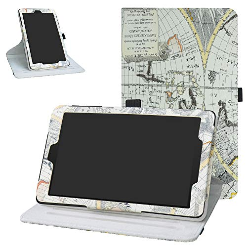 Bige Case for Alcatel Joy Tab Rotating Case,360 Degree Rotary Stand With Cute Pattern Cover For T-Mobile Alcatel Joy Tab 8-inch Tablet /Alcatel 3T 8-inch Tablet,Map White