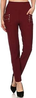 LA12ST Women's Straight Fleece Lined Pant Warm Trouser Stretch Skinny Solid Zipper Casual Business Office Brand