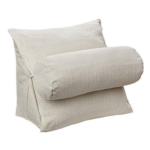 HALOViE Almohada ajustable de cuña y triángulo con soporte para la espalda, ángulo y cuello para lectura, sofá, cama, oficina y silla 47 * 45 * 23cm Marfil