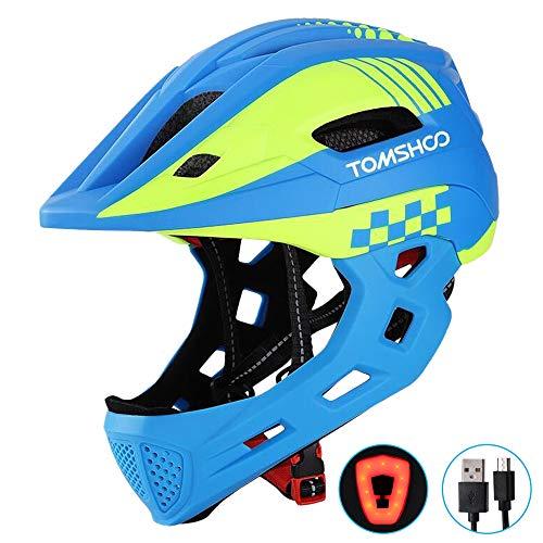 TOMSHOO Kinderfahrrad Integralhelm Kindersicherheit Skateboard Rollerblading Helm Sport Kopfschutz mit Rücklicht und abnehmbarem Kinn(Blau)