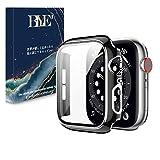 【光沢の2021改良モデル】BLYE Apple Watch 用 ケース 44mm 対応 Apple Watch Series6/SE/5/4 PC素材 一体型 強化ガラス アップルウォッチケース 全面保護 保護カバー(Series6/SE/5/4 44mm,ブラック+シルバー)