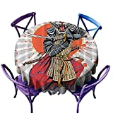 Anime Wild Ninja Cartoon Japanese Gingham Round Tablecloth,Masculine Tiger Leopard Samurai Sword Fighter Japan Style Rising Gray White Orange Red Charcoal,Great for Coffee & More D54 inch