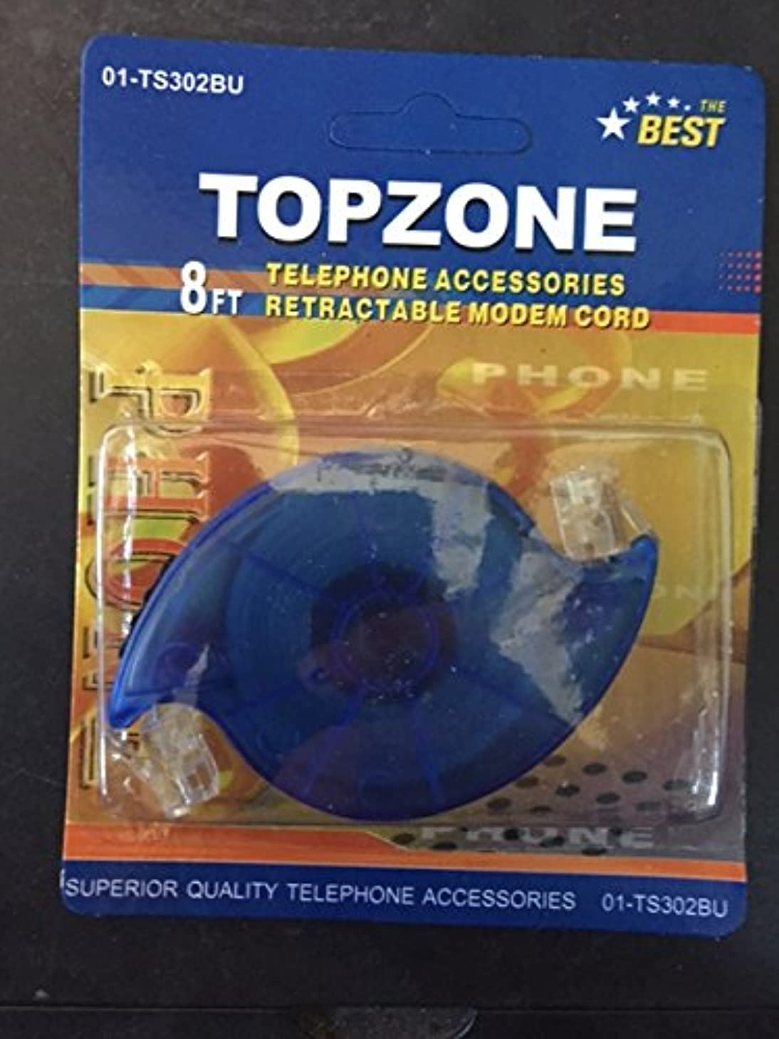 8 Ft Retractable Telephone Cord - RJ-11 Phone or Modem Cord - Blue