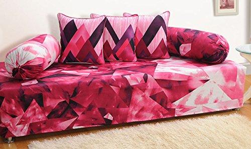 Yuga Pink Reine Baumwolle Modernes Design Abstrakt Gedruckt Indische Diwan Set-Pack von 6 Pcs