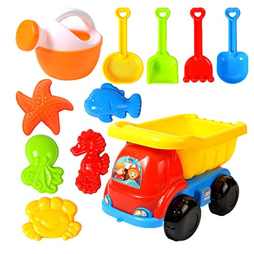 11pcs Beach Sand Toy Set For Kids Soft Material Sandpit Trucks, Sea Animal...