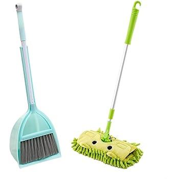 Firlar ままごと用家事グッズ 教育玩具 子供用 クリーニングツール 家庭用おもちゃ ワイパー モップ 箒 ブラシ 清掃用具 男女共用