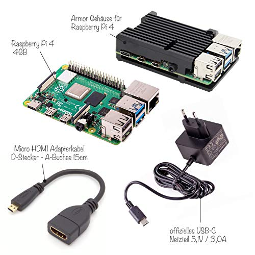 Sertronics Raspberry Pi 4 4GB Light Starter Set inkl. Armor Case, offiziellem Netzteil und dem Raspberry Pi 4 4GB, schwarz