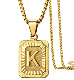 KissYan Initial Letter Pendant Necklace for Mens Womens, 18K Gold Plated Square Capital Monogram Necklace Alhpabets from A-Z Box Figaro Chain Necklace(Square Letter K)
