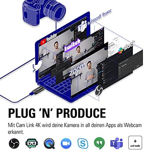 Elgato Cam Link 4K, Live-Übertragung, Aufnahme via DSLR, Camcorder, Actioncam, 1080p60, 4K/30FPS, HDMI, USB 3.0, Videokonferenz, Home-Office, Zoom, Teams