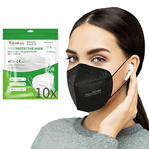 Kangcheng Medical 10 Stück FFP2 Maske Schwarz CE zertifiziert, geprüfte Atemschutzmaske 5-lagig, Schutz Masken, Mundschutz, Staubschutzmaske, deutscher Händler