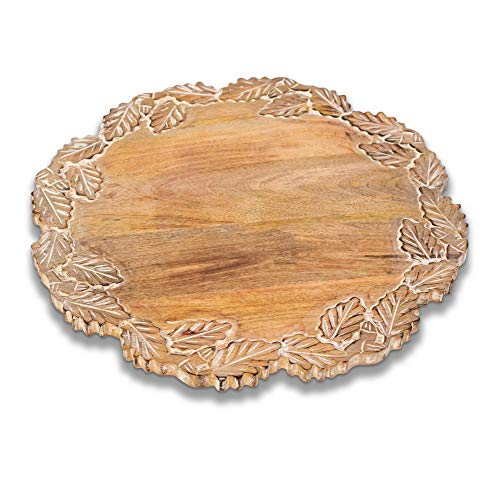 Avera Products  Uniquely Carved Mango Wood Rotating Lazy Susan 17  A Beautiful Display for Any Home Kitchen  Perfect for Kitchen Tables Coffee Tables and Rustic Home Decor