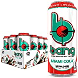 Bang Miami Cola Energy Drink, 0 Calories, Sugar Free with Super Creatine, 16 Fl Oz (Pack of 12)