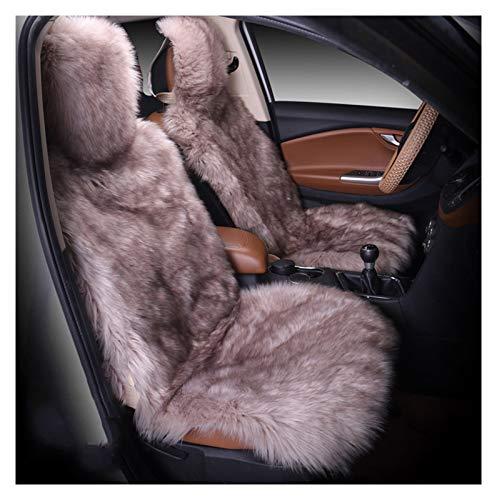 Winter-Warmer Auto-Sitzbezug Lange Wolle Vordersitzbezug 2 Stück (Color Name : Bean 2 Pieces)
