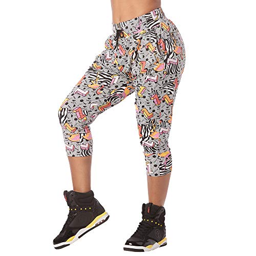 Zumba Fitness Aktiv Weicher Stoff Haremshose Damen Stilvoll Workout Hippie Hose, Wear it Out White, XXL