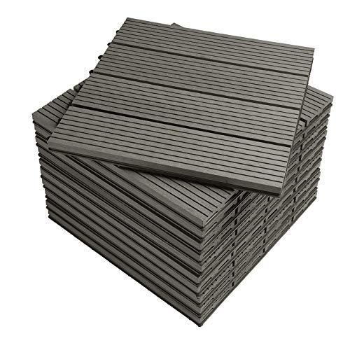 WOLTU Suelo de WPC Set de 11 Baldosas de Madera Exterior para Porche Patios Jardin, 30 x 30 cm Compuesta Azulejos para Terraza Gris Oscuro