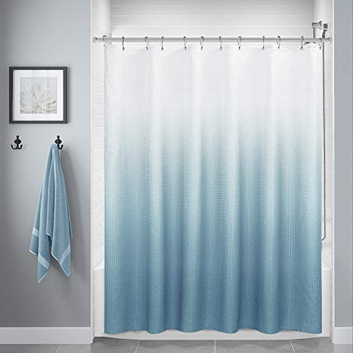 Blue Shower Curtains for Bathroom, Polyester Ombre Shower Curtains for Bathroom, Waterproof Shower Curtain Liner with 12 Hooks,Machine Washable(72 x 72 inch,Blue Gray)