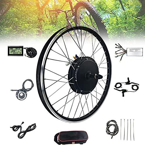 DDCHH Kit de Conversión para Bicicleta Eléctrica de 1000/1500W, 20/24/26/27.5/28/29/700C Pulgadas Rueda de Delantera, Motor de Cubo sin Escobillas de Rueda con Controlador,1000W-20Inch
