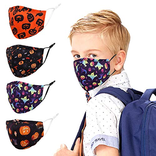 Kids Face Cloth Mask Reusable Washable Halloween Funny Designer Cute Fashionable Fashion Gaiters Breathable Adjustable Black Pink White Facemasks For Kids Childrens Boys Girls Child Youth Teen