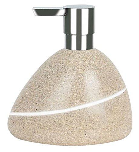 Spirella Seifenspender Etna Flüssigseifen-Spender Polyresin Steinoptik Beige/Weiß 400ml