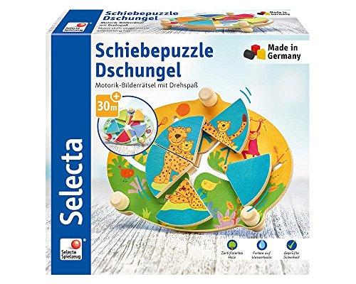 Selecta 62062 Schiebepuzzle Dschungel, Motorikspielzeug aus Holz, 24 cm