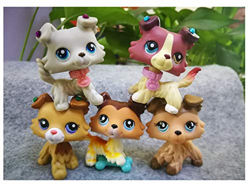 LPSOLD Old LPS Collie Set 363 2452 1262 893 58 Paw Up Dog Puppy Lot with Accessories Lot Collection Toy Figure Girls Boys Gift