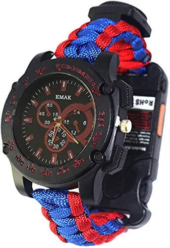 Reloj multifunción de supervivencia Seven Core con paraguas y termómetro de cuerda, silbato con brújula, láser con infrarrojos, reloj de emergencia para exteriores, esencial, rojo, azul, rojo y azul